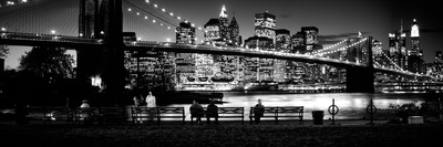 Suspension Bridge Lit Up at Dusk, Brooklyn Bridge, East River, Manhattan, New York City Photographic Print by  Panoramic Images