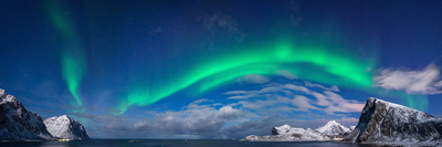 Aurora Borealis Above Flaget Bay, Lofoten, Nordland, Norway Photographic Print by  Panoramic Images
