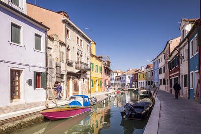 Colorful Houses on Burano in Venice, UNESCO World Heritage Site, Veneto, Italy, Europe Photographic Print by Julian Elliott