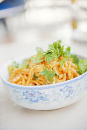 Traditional Burmese Noodle Dish, Myanmar (Burma), Asia Fotografisk tryk af Craig Easton