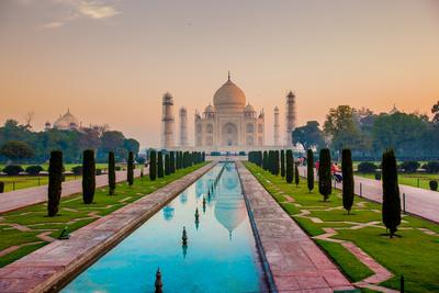 Sunrise at the Taj Mahal, UNESCO World Heritage Site, Agra, Uttar Pradesh, India, Asia Photographic Print by Laura Grier