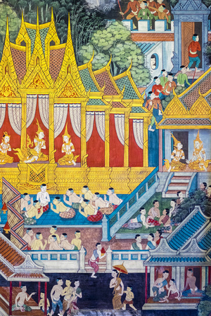 Colorful Painted Murals Depicting Scenes from Life of Buddha Photographic Print by Jason Langley