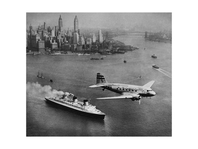 DC-3, SS Normandie, New York, 1938 Giclee Print by Clyde Sunderland