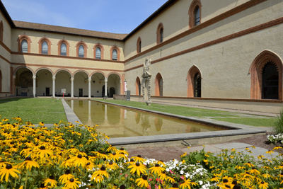 Garden in the Ducal Courtyard, Sforzesco Castle (Castello Sforzesco), Milan, Lombardy, Italy Photographic Print by Peter Richardson