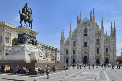 Equestrian Statue of Victor Emmanuel Ii and Milan Cathedral (Duomo), Piazza Del Duomo, Milan Photographic Print by Peter Richardson