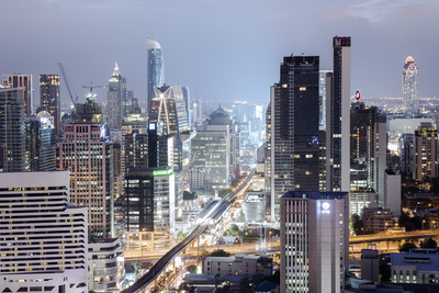 Skyline Showing the Skytrain and City Centre around Sukhumvit Road and Chit Lom, Bangkok, Thailand Photographic Print by Alex Robinson