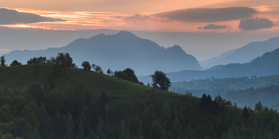 Carpathian Mountains Landscape at Sunrise Near Bran Castle, Transylvania, Romania, Europe Photographic Print by Matthew Williams-Ellis