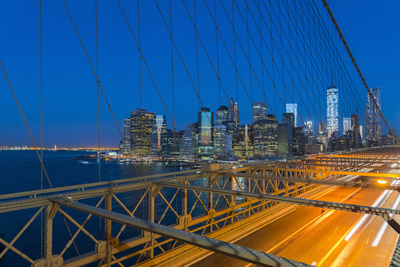 New York Skyline, Manhattan, Brooklyn Bridge over East River Photographic Print by Alan Copson
