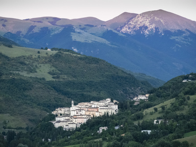 View at Sunset, Village of Preci, Valnerina, Umbria, Italy, Europe Photographic Print by Jean Brooks
