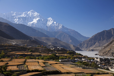 Nepal, Mustang, Kagbeni. the Soaring Peak of Nilgiri Behind the Village of Kagbeni. Photographic Print by Katie Garrod