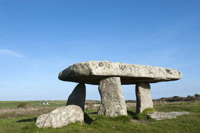 Chamber Tomb of Lanyon Quoit, Land's End Peninsula, Cornwall, England Fotografisk tryk af Paul Harris