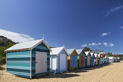 The Colourful Brighton Bathing Boxes Located on Middle Brighton Beach, Brighton, Melbourne Photographic Print by Cahir Davitt