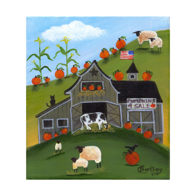 Pumpkins 4 Sale Cheryl Bartley Giclee Print by Cheryl Bartley