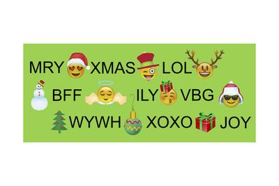 Xmas Emojis Text Giclee Print by Ali Lynne