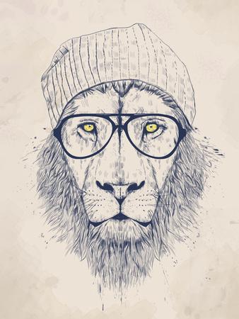 Cool Lion Giclée-tryk af Balazs Solti