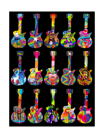 Pop Art Guitars Giclee Print by Howie Green