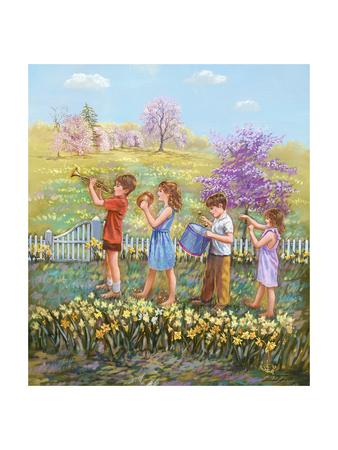 Daffodils - Garden Gates Giclee Print by Judy Mastrangelo