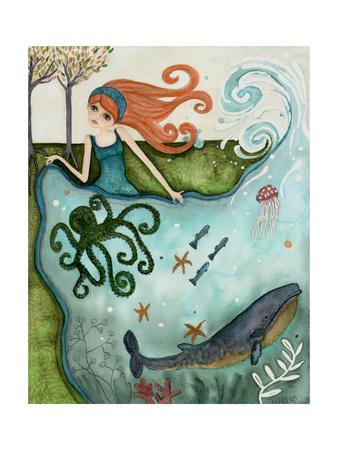 Big Eyed Girl Ocean Dreamer Giclee Print by  Wyanne