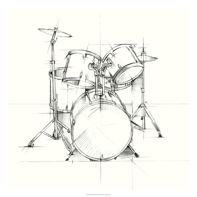 Drum Sketch Premium Giclee Print by Ethan Harper