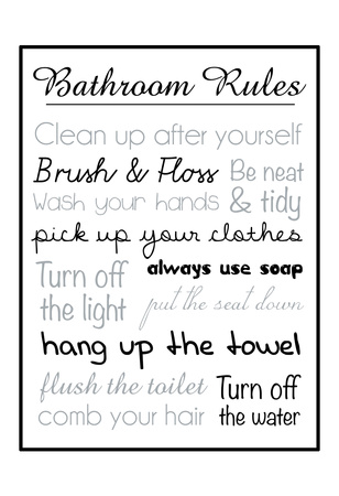 Bath Rules Blk Posters by Lauren Gibbons