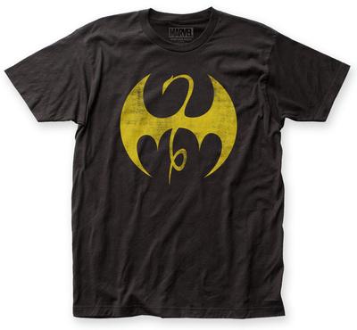 Iron Fist dragon logo on distressed dark grey t-shirt
