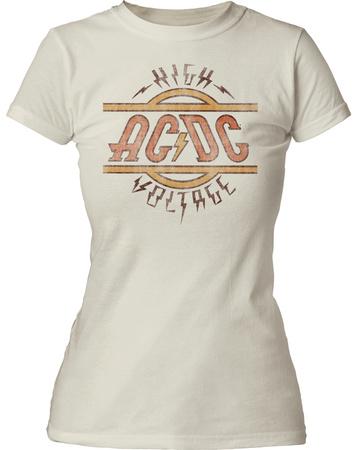 Juniors: AC/DC- Distressed High Voltage Logo T-shirts