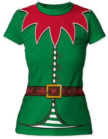 Juniors: Holly Jolly Elf Costume Tee T-Shirt