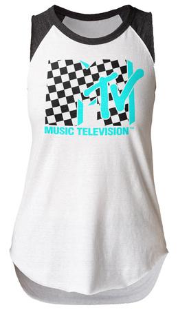 Juniors: MTV- Checkered Logo Sleeveless Raglan Womens Tank Tops