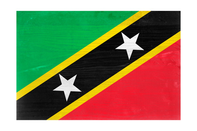 St. Kitts And Nevis Flag Design with Wood Patterning - Flags of the World Series Prints by Philippe Hugonnard