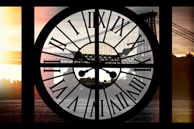 Giant Clock Window - Night View of the Williamsburg Bridge Photographic Print by Philippe Hugonnard