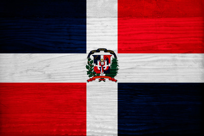 Dominican Republic Flag Design with Wood Patterning - Flags of the World Series Posters by Philippe Hugonnard