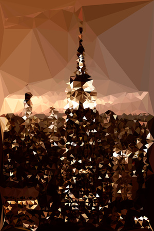 Low Poly New York Art - The Empire State Building Print by Philippe Hugonnard