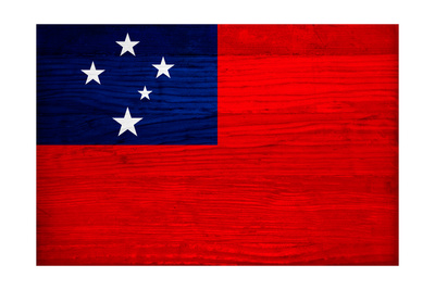 Samoa Flag Design with Wood Patterning - Flags of the World Series Posters by Philippe Hugonnard