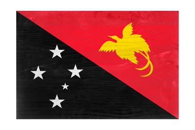 Papua New Guinea Flag Design with Wood Patterning - Flags of the World Series Poster by Philippe Hugonnard