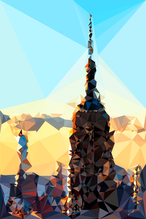 Low Poly New York Art - Empire Sunset Poster by Philippe Hugonnard
