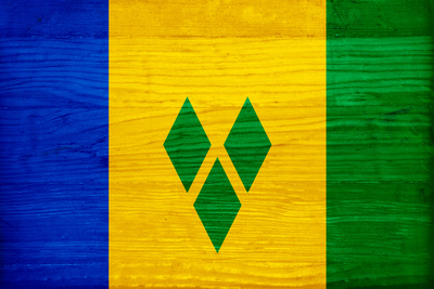 St. Vincent And The Grenadines Flag Design with Wood Patterning - Flags of the World Series Prints by Philippe Hugonnard