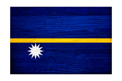 Nauru Flag Design with Wood Patterning - Flags of the World Series Poster by Philippe Hugonnard