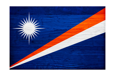 Marshall Islands Flag Design with Wood Patterning - Flags of the World Series Posters by Philippe Hugonnard