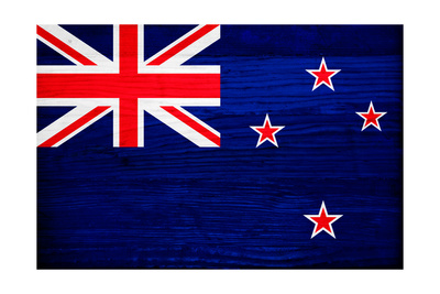 New Zealand Flag Design with Wood Patterning - Flags of the World Series Prints by Philippe Hugonnard