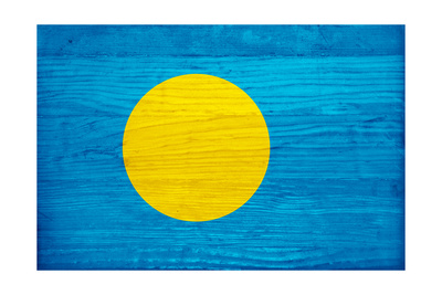 Palau Flag Design with Wood Patterning - Flags of the World Series Posters by Philippe Hugonnard