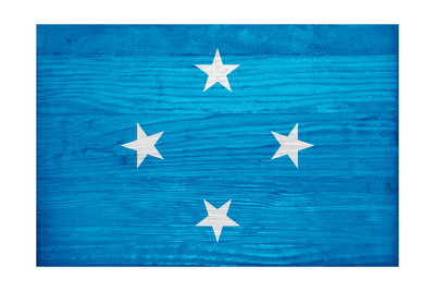 Micronesia Flag Design with Wood Patterning - Flags of the World Series Print by Philippe Hugonnard