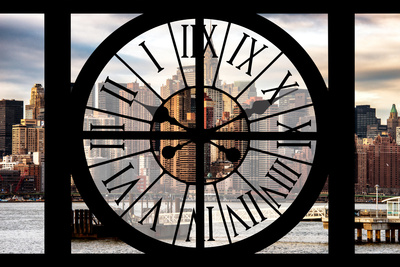 Giant Clock Window - View on the New York with the Chrysler Building Photographic Print by Philippe Hugonnard
