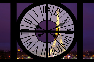 Giant Clock Window - View of the Eiffel Tower by Night - Paris Photographic Print by Philippe Hugonnard