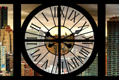 Giant Clock Window - View on the Garmen District at Sunset - New York City Photographic Print by Philippe Hugonnard