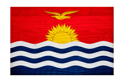 Kiribati Flag Design with Wood Patterning - Flags of the World Series Poster by Philippe Hugonnard