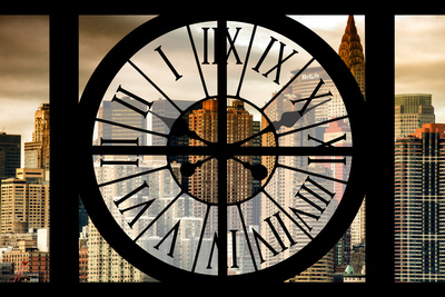 Giant Clock Window - View on the New York with the Chrysler Building at Sunset Photographic Print by Philippe Hugonnard