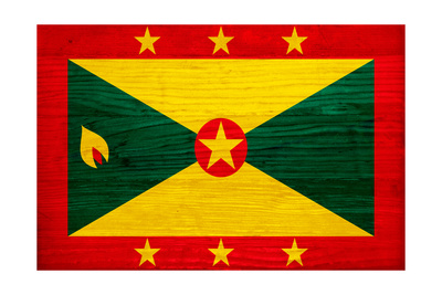 Grenada Flag Design with Wood Patterning - Flags of the World Series Prints by Philippe Hugonnard