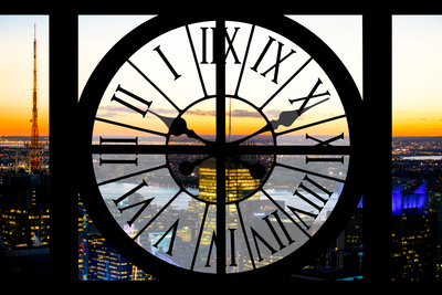 Giant Clock Window - View on the New York at Sunset Photographic Print by Philippe Hugonnard