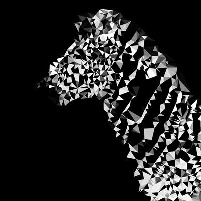 Low Poly Safari Art - Zebra Profile - Black Edition Prints by Philippe Hugonnard
