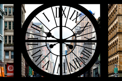 Giant Clock Window - View on the New York City - 401 Broadway Photographic Print by Philippe Hugonnard